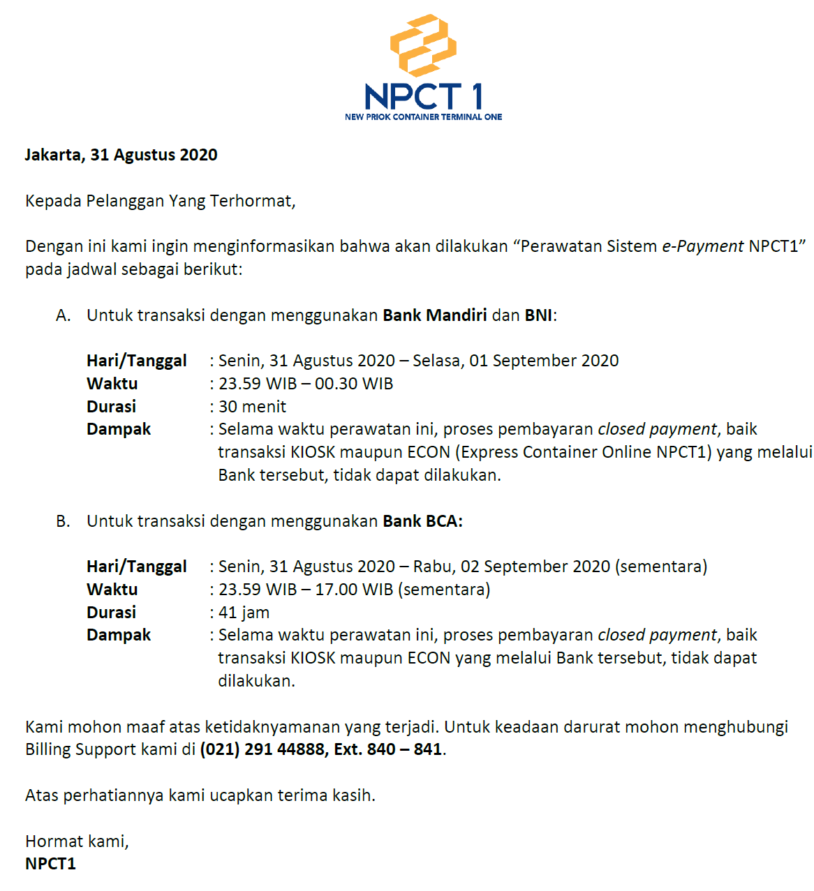 Customer Announcement For Maintenance Of Npct1 E Payment System
